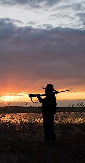 Silhouette of an OWAA hunter against twilit swamp