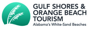 Gulf Shores and Orange Beach Tourism Logo (two bending plant stalks against a turquoise circle)