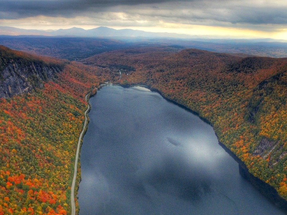 Aerial view of Lake Willoughby, Vermont, in fall
