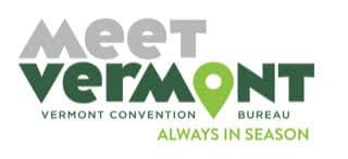 """Meet Vermont logo with text """"Vermont Convention Bureau, always in season"""""""