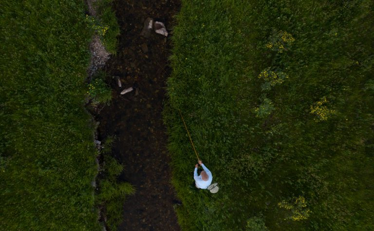Aerial view of a fisherman