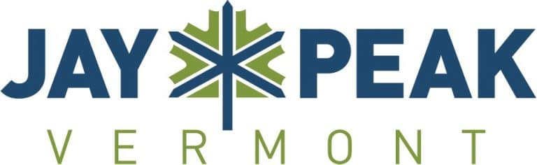 Jay Peak Vermont logo, faeturing a prominent blue and green leaf