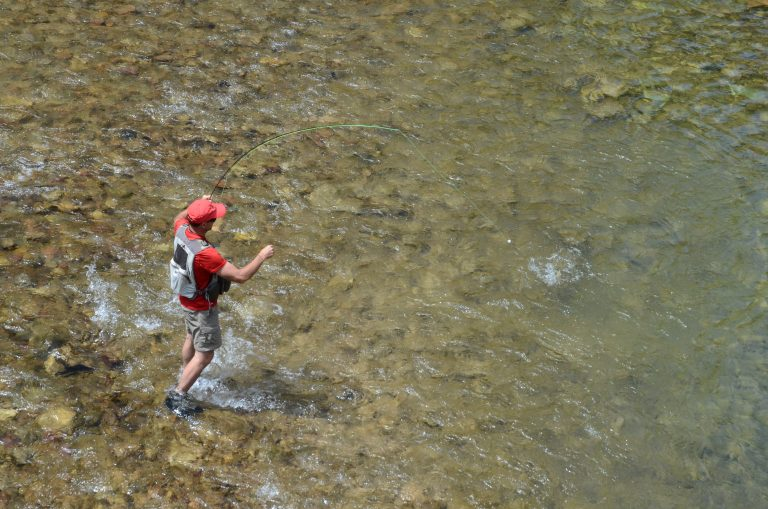 Overhead view of a person fly fishing