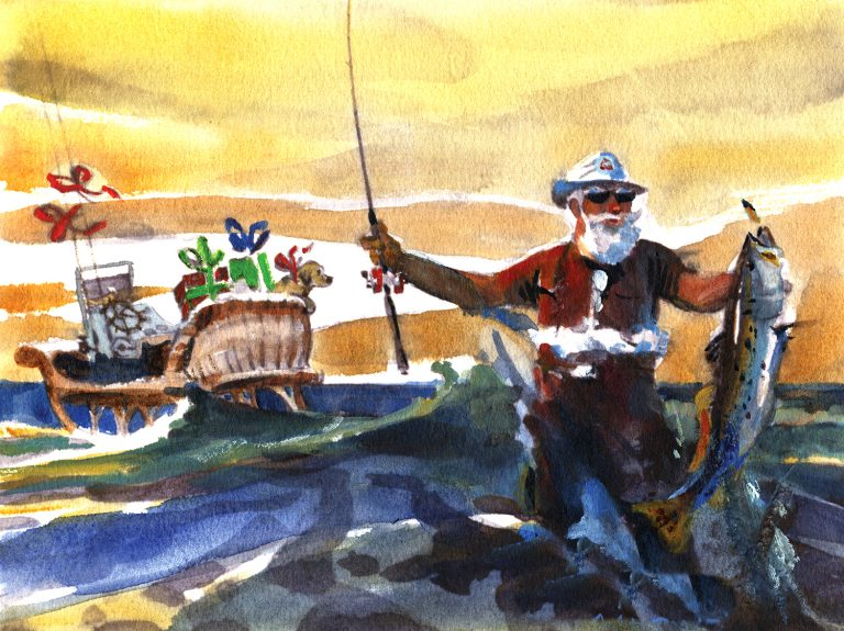 Watercolour painting of a Santa Claus holding up a fishing rod and fish