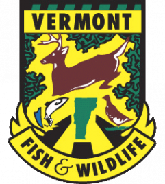 Logo of Vermont FIsh & Wildlife, a green and yellow crest featuring a leaping buck